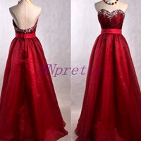 Burgundy Long Beaded Prom Dresses,Tulle Organza Evening Dresses,Homecoming Dresses,Bridesmaid Dresses,Formal Party Grown 2015
