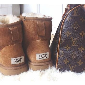 """""""UGG"""" Winter Stylish Women Retro Ankle Wool Snow Boots Brown I/A"""