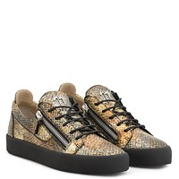 Giuseppe Zanotti Gz Frankie Multicolour Python-embossed Calfskin Leather Low-top Sneaker