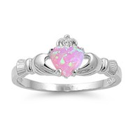 .925 Sterling Silver Pink Opal Claddagh Ladies Ring Size  4-12