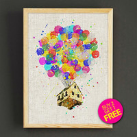 Flying House Watercolor Art Print Disney Up Poster House Wear Wall Art Decor Gift Linen Print - Buy 2 Get FREE - 257s2g