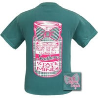 Girlie Girl Originals Preppy Southern State of Mind Mason Jar Bow Comfort Colors Seafoam Bright T Shirt