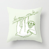 Sloth Throw Pillow by Andrew Henry | Society6