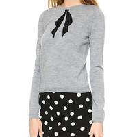 Long Sleeve Embroidery Bow-tie Sweater