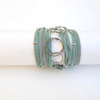 Turquoise suede and nickel chains. Two-in-one jewel - Wrapped bracelet or necklace.