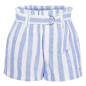 Casual Linen Striped High Waisted Paperbag Belted Shorts with Pockets (CLEARANCE)