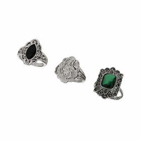 Vintage Engraved Ring Pack - Green