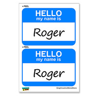 Roger Hello My Name Is - Sheet of 2 Stickers
