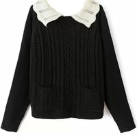 Lovely Contrast-Collar Cable Sweater - OASAP.com