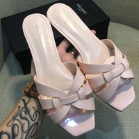 YSL Yves Saint Laurent 2018 chunky heel with women's shoes open toe sandals F-AHD-HNXG-ZD pink