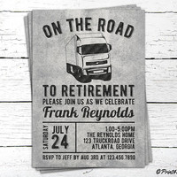 Truckdriver Retirement Invite // Personalized Printable Truckdriver Retirement Invitation // Truck Invite // On the road to retirement