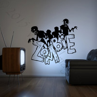 Zombie wall decal, Halloween wall decal, monster wall decal, Halloween wall decor, spooky wall decal, gothic decor, holiday party decor
