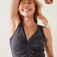 Silence + Noise Laurel Ruched-Front Cropped Cupro Tank Top | Urban Outfitters