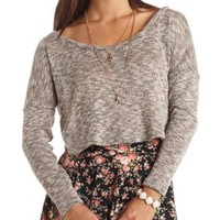 Sheer Marled Sweater Knit Crop Top by Charlotte Russe - Taupe