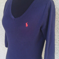 Ralph Lauren Sport shirt blue small women's long sleeves dark blue red polo pony emblem cotton preppy casual classic style