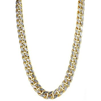 """14k Yellow And White Gold Miami Cuban Pave Link Chain Necklace, Width 9.5mm, 22"""""""