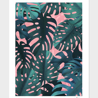 «Tropical leaves on pink» Art Print by Jace Anderson - Numbered Edition from $24.9 | Curioos