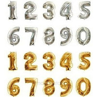 16 Inch Gold Silver Foil Number Balloons Birthday Wedding Party Decoration Useful = 1946215812