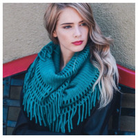 """Always My Style"" Chenille Tassel Fringe Teal Infinity Scarf"