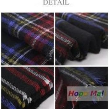 2016 New Hote  Fashion Checked Scarf Women Blanket Oversized Plaid Tartan Scarf Wrap Shawl (Color: Multicolor) [8321372295]