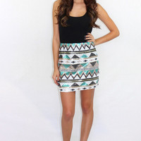 The Takeover Aztec Sequin Skirt