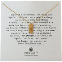 "Dogeared ""I Am"" Gold Happy Small Dogtag Pendant Necklace, 18"" Gold"