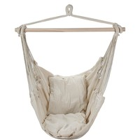 Swing Hanging Hammock Chair With Two Cushions (White)