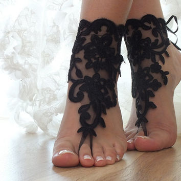 Black Beach wedding barefoot sandals, bangle, anklet, free ship, anklet, steampunk, gothic boho tribal fusion sandals
