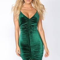 Beijing Velvet Dress - Hunter Green