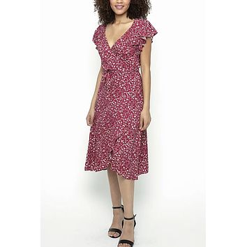 Angie Red Floral Wrap Dress