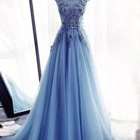 Blue Long Jewel Floor Length Applique Tulle Prom Dress