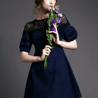 Dark Blue Short Sleeve Lace Applique Denim A-Line Mini Dress