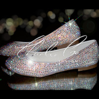 CHARLIE CO. AB Crystal Flat Ballet Pumps Bridal Wedding Evening Prom Occasion Sparkly Flats Crystal Flats
