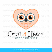 OOAK Premade Logo Design - Owl Heart - Perfect for a crafts supplies shop or a baby products brand