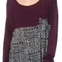 Empyre Corey Blackberry Tribal Dolman Top