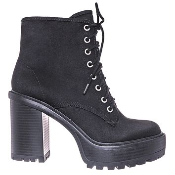 Volume High Heel Combat Boots - Lace Up Military Threaded Shoes