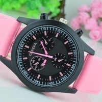 Geneva Unisex Men Women Quartz Watch Fashion Ladies Dress Watches Black Dial Silicone Band Analog Hour Water Resistant Clock High Quality Gifts For Kids  = 5710670209