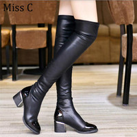 2016 Fashion PU Leather Over Knee Boots Women Sequined Toe Elastic Stretch Thick Heel Thigh High Riding Boots Big Size 40 WBS156