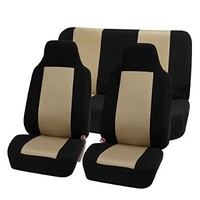 FH-FB102112 Classic Cloth Car Seat Covers Universal Full Set / Complete Seat Black Color High Back Bucket - Fit Most Car, Truck, Suv, or Van