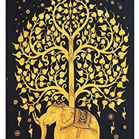 TreeofLife,HippieTapestries,BohemianBohoTapestry,WallHanging,andBedspread(Golden)