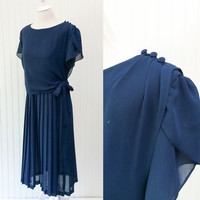 Olivia dress // 80s sheer navy blue chiffon draped pleated side tie midi dress // boho secretary chic // size XL