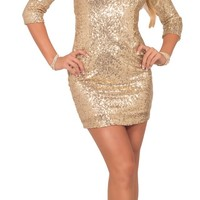 Womens Bodycon Formal Sequin Boat Neck 3/4 Sleeve Party Mini Dress