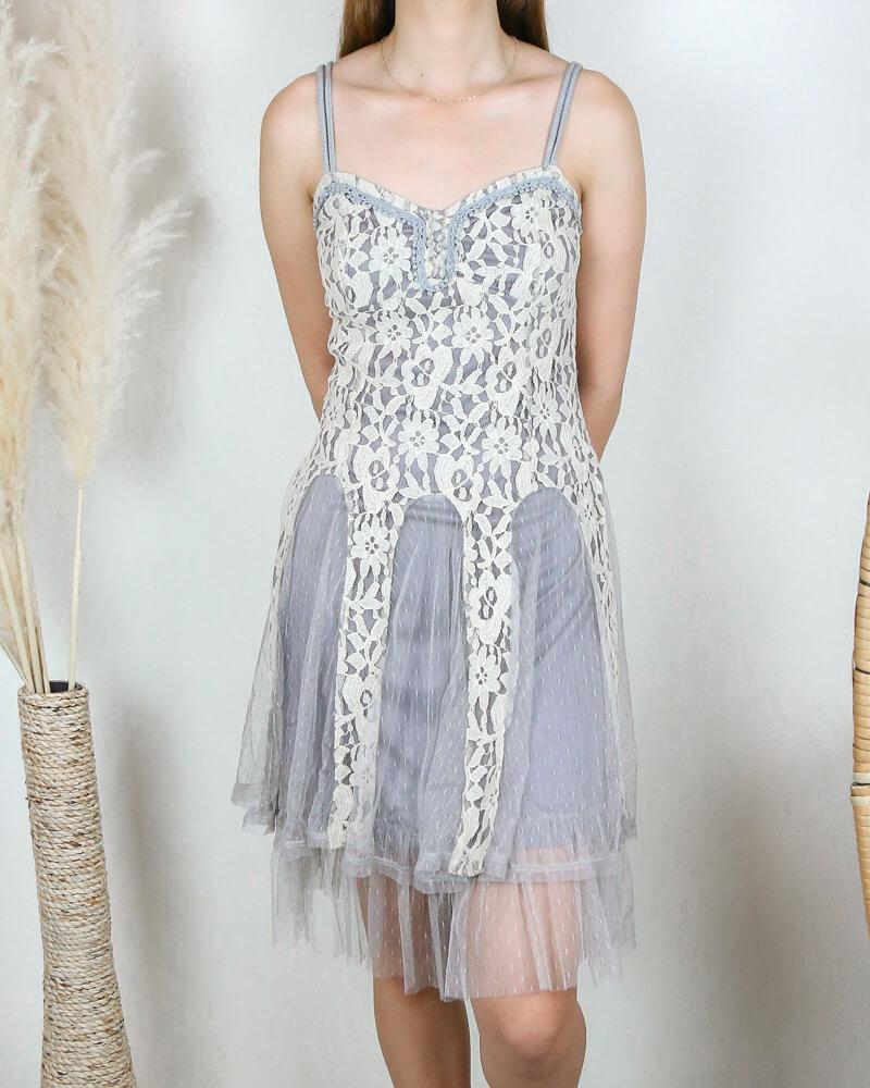 Image of Ryu Time Will Tell Lace Dress in Grey