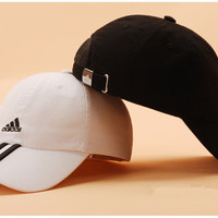 """""""Adidas"""" Fashion Casual Simple Embroidery Three White Vertical Stripe Letter Cotton Tongue Cap Hat"""