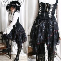 Gothic Lolita Raggedy Multi-Layer Drawstring Witch Gause Lace Picot Lace Skirt