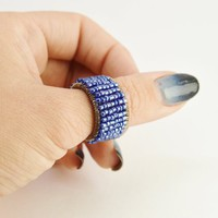 Beaded blue statement thumb ring