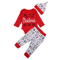 Christmas Newborn Baby Boy Christmas Clothes Romper Arrows Pants Leggings Outfits First Christmas