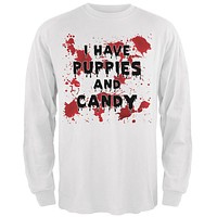 Halloween I Have Puppies and Candy Blood Splatter Mens Long Sleeve T Shirt