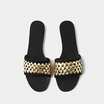 New Flat Slides Sandals Women Golden Knit Outside Flat Beach Slipper Fashion Women's Holiday Massage Slides