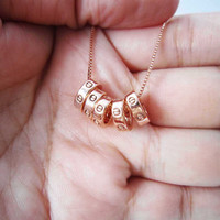 Rose gold necklace-five mini circle love rose gold necklace-best gift for your or your friends